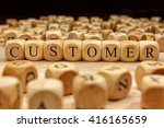 customer word written on wood... | Shutterstock . vector #416165659