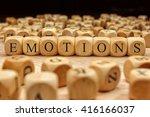 emotions word written on wood... | Shutterstock . vector #416166037
