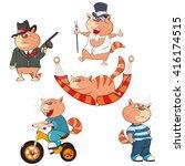 set of vector cartoon... | Shutterstock .eps vector #416174515