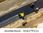 Aerial View On The Road Roller...