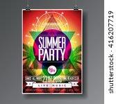 vector summer beach party flyer ... | Shutterstock .eps vector #416207719