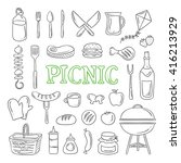 picnic icons and objects.... | Shutterstock .eps vector #416213929
