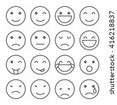 faces simple icons. set of... | Shutterstock . vector #416218837