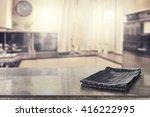 blurred retro kitchen with... | Shutterstock . vector #416222995