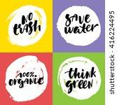 hand drawn eco lettering set.... | Shutterstock .eps vector #416224495