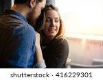 happy couple in love hugging... | Shutterstock . vector #416229301