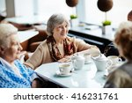 senior woman sitting in cafe... | Shutterstock . vector #416231761