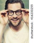 portrait of man wearing glasses ... | Shutterstock . vector #416233255