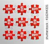 nine piece flat puzzle round... | Shutterstock .eps vector #416244331