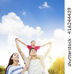 happy asian family with cloud... | Shutterstock . vector #416244439