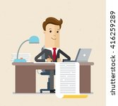 businessman writing a business... | Shutterstock .eps vector #416259289