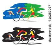 triathlon race.  three... | Shutterstock .eps vector #416283037