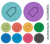 color tag flat icon set on...