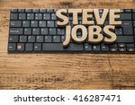 Stock photo steve jobs word made from wooden letters lie on black modern keyboard wood table natural 416287471