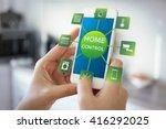 using smart home app on phone.... | Shutterstock . vector #416292025