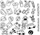 toy doodle art for kids black... | Shutterstock .eps vector #416295679
