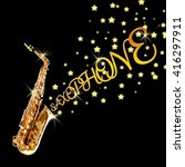 golden saxophone with stars... | Shutterstock . vector #416297911