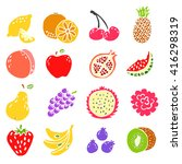 set of doodle hand drawn fruit... | Shutterstock .eps vector #416298319