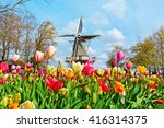 dutch windmill and colorful... | Shutterstock . vector #416314375