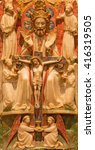 Small photo of AVILA, SPAIN, APRIL - 18, 2016: The alabastrine relief Holy Trinity relief in Catedral de Cristo Salvador by unknown artist of 16. cent.