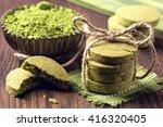 Matcha Green Tea Cookies On A...