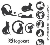 Stock vector logo cat collection 416328934