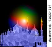 vector polygonal crystal mosque.... | Shutterstock .eps vector #416334919