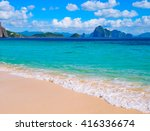tropical landscape of sandy... | Shutterstock . vector #416336674