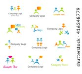 abstract logos. social people... | Shutterstock .eps vector #416348779