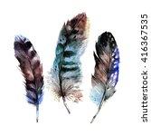 watercolor feathers set. hand... | Shutterstock . vector #416367535