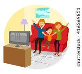 happy family watching... | Shutterstock .eps vector #416369851