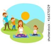 family doing yoga and excercise ... | Shutterstock .eps vector #416370529