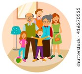 happy family with father ... | Shutterstock .eps vector #416370535
