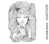 vector hand drawn portrait of... | Shutterstock .eps vector #416371555