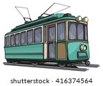 old vintage tram drawing ... | Shutterstock .eps vector #416374564