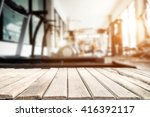 fitness gym and wooden table... | Shutterstock . vector #416392117