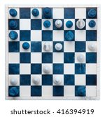 Small photo of Chess board alabaster cutout on white background