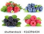 collage berries strawberries... | Shutterstock . vector #416396434