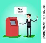 man dressed in suit gets cash... | Shutterstock .eps vector #416409601