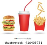 burger fries and cola vector... | Shutterstock .eps vector #416409751