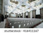 huge hall interior with red... | Shutterstock . vector #416411167