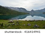 serene fjord surrounded by... | Shutterstock . vector #416414941