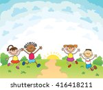 children are jumping on the... | Shutterstock . vector #416418211