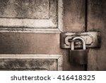 Lock On The Door Of An Old...