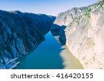 aldeadavila dam in... | Shutterstock . vector #416420155