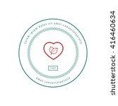 herbal heart label red  green | Shutterstock .eps vector #416460634