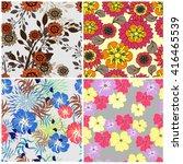 vector set  seamless flowers... | Shutterstock .eps vector #416465539