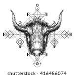 front view of yak head doodle   ... | Shutterstock .eps vector #416486074