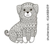 zentangle dog for coloring page ... | Shutterstock .eps vector #416488459