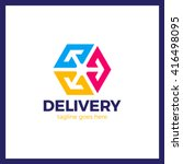 delivery box three arrow logo.... | Shutterstock .eps vector #416498095